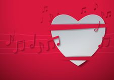 Valentine's Day Abstract Background with Cut Paper Heart and Mus Royalty Free Stock Photography
