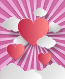 Valentine's day abstract background. With cut paper heart. Vector illustration royalty free illustration
