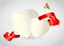 Valentine's day abstract background with cut paper. Heart. Vector illustration Stock Photo