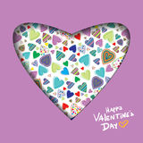 Valentine's day abstract background with cut paper heart Stock Image