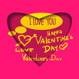 Valentine's day abstract background with cut paper heart. Vector illustration Royalty Free Stock Photo
