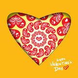 Valentine's day abstract background with cut paper heart. Vector illustration Royalty Free Stock Photography
