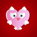Valentine`s day abstract background with cut paper heart. Vector illustration Stock Images