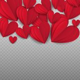 Valentine`s day abstract background with cut paper heart. Vector illustration. Cut paper red valentine hearts abstract composition. Vector illustration Royalty Free Stock Photos