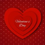 Valentine`s day abstract background with cut paper hearts. Vector illustration Stock Photography