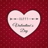 Valentine`s day abstract background with cut paper hearts. Vector illustration Royalty Free Stock Images