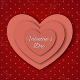 Valentine`s day abstract background with cut paper hearts. Vector illustration Stock Photos