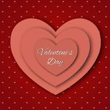 Valentine`s day abstract background with cut paper hearts. Vector illustration Stock Image