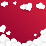 Valentine`s day abstract background with cut paper hearts. Vector Royalty Free Stock Photos