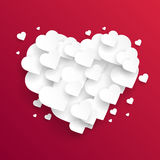Valentine`s day abstract background with cut paper hearts. Vector Stock Images