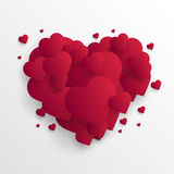 Valentine`s day abstract background with cut paper hearts. Vector Royalty Free Stock Images