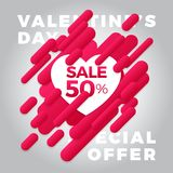 Valentine s day abstract background with dynamic diagonal red st. Rip and cut paper hearts design Royalty Free Stock Image