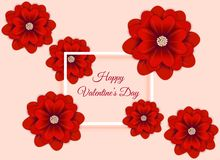 Valentine`s day abstract background with flower paper art vector illustration