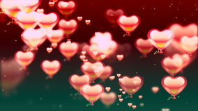 Valentine's day abstract background, flying hearts stock video footage