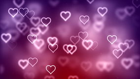 Valentine's day abstract background, flying hearts stock video