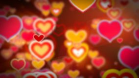 Valentine`s day abstract background,flying hearts and particles. Loopable stock video footage
