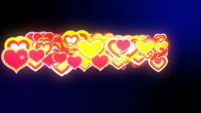 Valentine`s day abstract background,flying hearts and particles. Loopable stock footage
