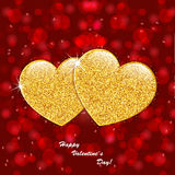 Valentine`s day abstract background with gold hearts. Valentine`s day abstract background with gold sparkling hearts Royalty Free Stock Photo