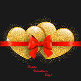 Valentine`s day abstract background with gold hearts. Valentine`s day abstract background with gold sparkling hearts Royalty Free Stock Photography