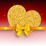 Valentine`s day abstract background with gold hearts Stock Image