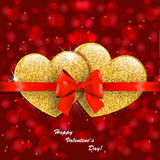 Valentine`s day abstract background with gold hearts. Valentine`s day abstract background with gold sparkling hearts Stock Photos