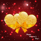 Valentine`s day abstract background with gold hearts. Valentine`s day abstract background with gold sparkling hearts Royalty Free Stock Images