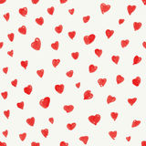 Valentine's day abstract background with hand drawn red hearts s Royalty Free Stock Images