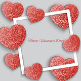 Valentine`s day abstract background with hearts. Valentine`s day abstract background with g sparkling hearts royalty free illustration