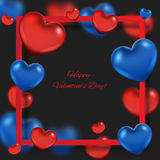 Valentine`s day abstract background with hearts. Valentine`s day abstract background with red and blue hearts stock illustration