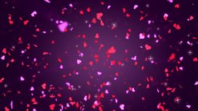Valentines Day Hearts Falling. Background Looped video. Valentine`s day abstract background looped video, falling hearts stock footage