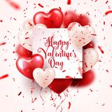 Valentine s day abstract background with red 3d balloons and confetti. Heart shape. February 14, love. Romantic wedding. Greeting card.Women s, Mother s day vector illustration