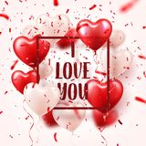 Valentine s day abstract background with red 3d balloons and confetti. Heart shape. February 14, love. Romantic wedding. Greeting card.Women s, Mother s day royalty free illustration