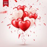 Valentine s day abstract background with red 3d balloons and confetti. Heart shape. February 14, love. Romantic wedding. Greeting card.Women s, Mother s day stock illustration