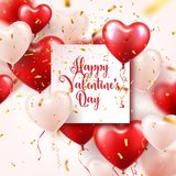 Valentine s day abstract background with red 3d balloons and golden confetti. Heart shape. February 14, love. Romantic. Wedding greeting card.Women s, Mother s stock illustration