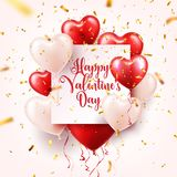 Valentine s day abstract background with red 3d balloons and golden confetti. Heart shape. February 14, love. Romantic. Wedding greeting card.Women s, Mother s vector illustration