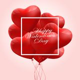 Valentine`s day abstract background with red 3d balloons. Heart shape. February 14, love. Romantic wedding greeting card. Valentine`s day abstract background vector illustration