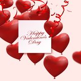 Valentine`s day abstract background with red 3d balloons. Heart shape. February 14, love. Romantic wedding greeting card.Women`s. Valentine`s day abstract royalty free illustration