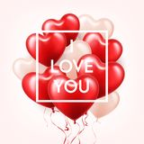 Valentine s day abstract background with red 3d balloons. Heart shape. February 14, love. Romantic wedding greeting card. Women s, Mother s day royalty free illustration