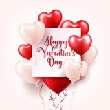 Valentine s day abstract background with red 3d balloons. Heart shape. February 14, love. Romantic wedding greeting card. Women s, Mother s day vector illustration