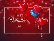 Valentine`s day abstract background with red 3d heart-shaped balloons. Vector holiday illustration. Happy Valentine`s Day greeting lettering royalty free illustration