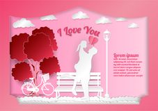 Valentine`s day on abstract background with text I love. You, paper cut style, Vector illustration. In a gift box vector illustration