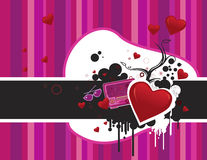 Valentine's day abstract composition. Funky vector illustration with pink stripes Royalty Free Stock Photo