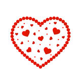 Valentine`s Day. Abstract heart of red beads. Design for romantic compositions cards.  Royalty Free Stock Photography