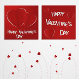 Valentine's day abstract multiple card or background with cut and folded paper hearts and text. Stock Photography