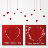 Valentine's day abstract multiple card or background with cut and folded paper hearts and text. Royalty Free Stock Images