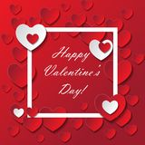 Valentine`s day abstract romantic background. With cut paper hearts. Vector illustration. Paper hearts cut from paper. International holiday of lovers. Festive Stock Photos