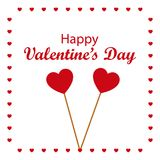 Happy Valentine`s Day with two pinned hearts. Vector illustratio. Valentine`s Day, also called Saint Valentine`s Day or the Feast of Saint Valentine, is an Royalty Free Stock Images