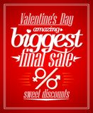 Valentine`s day amazing sale typographic design. Royalty Free Stock Images
