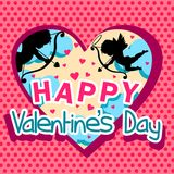 Valentine`s day with amours, love arrows and clouds. Greeting Valentine`s day with polka dot background, a window with the sky and cupids Royalty Free Stock Photos