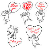 Valentine`s Day angels set with cute hand drawn lettering. I lov Stock Images